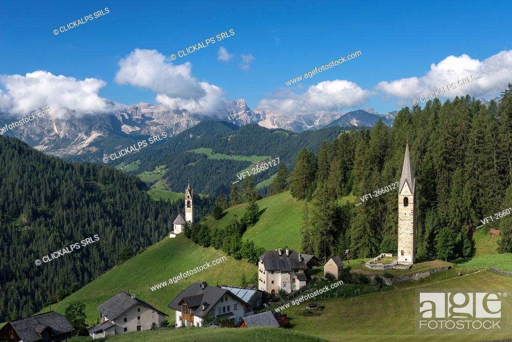 Stock Photo: La Val/Wengen, Dolomites, South Tyrol, Italy. The Church of Santa Barbara in La Val.