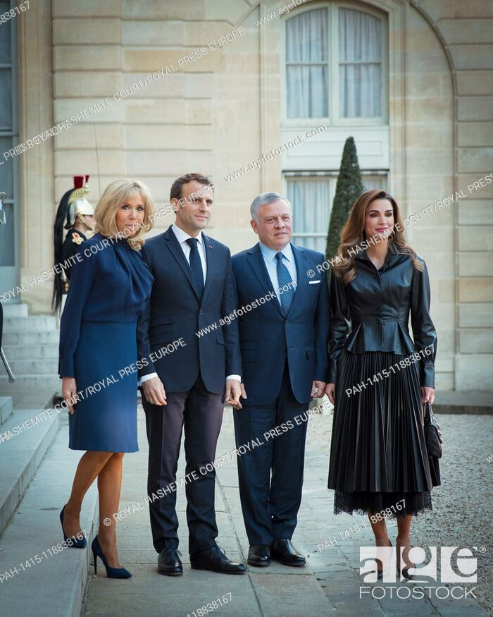 Stock Photo: Their Majesties King Abdullah II and Queen Rania with President Emmanuel Macron, and Mrs. Brigitte Macron during a visit to Paris, on March 29, 2019.