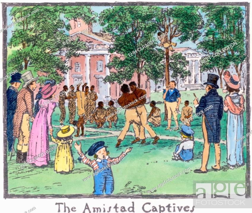 Imagen: The Amistad Mutiny survivors exercising on the New Haven town green where they attracted the curiosity seekers. During their successful revolt on the slave ship.