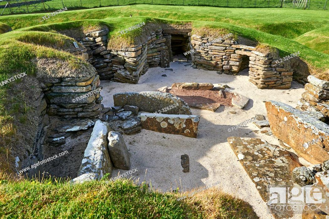 Stock Photo: The neolithic ( circa 2, 500 to circa 2, 000 BC) settlement of Skara Brae the best preserved groups of prehistoric houses in Western Europe.