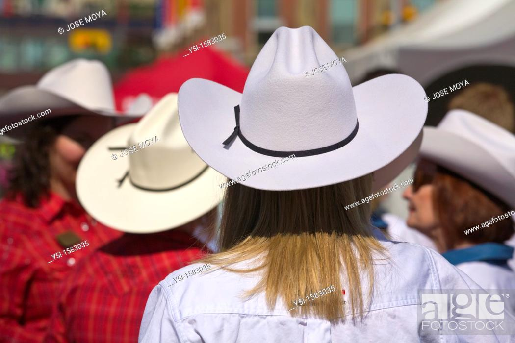 Stock Photo: People wearing Stetsons, Calgary Stampede, Alberta, Canada.