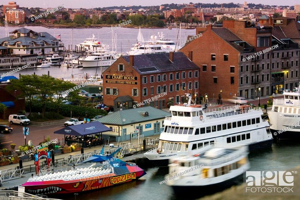 Stock Photo: Harbor ferries at dusk, Long Wharf, Boston, Massachusetts, USA.