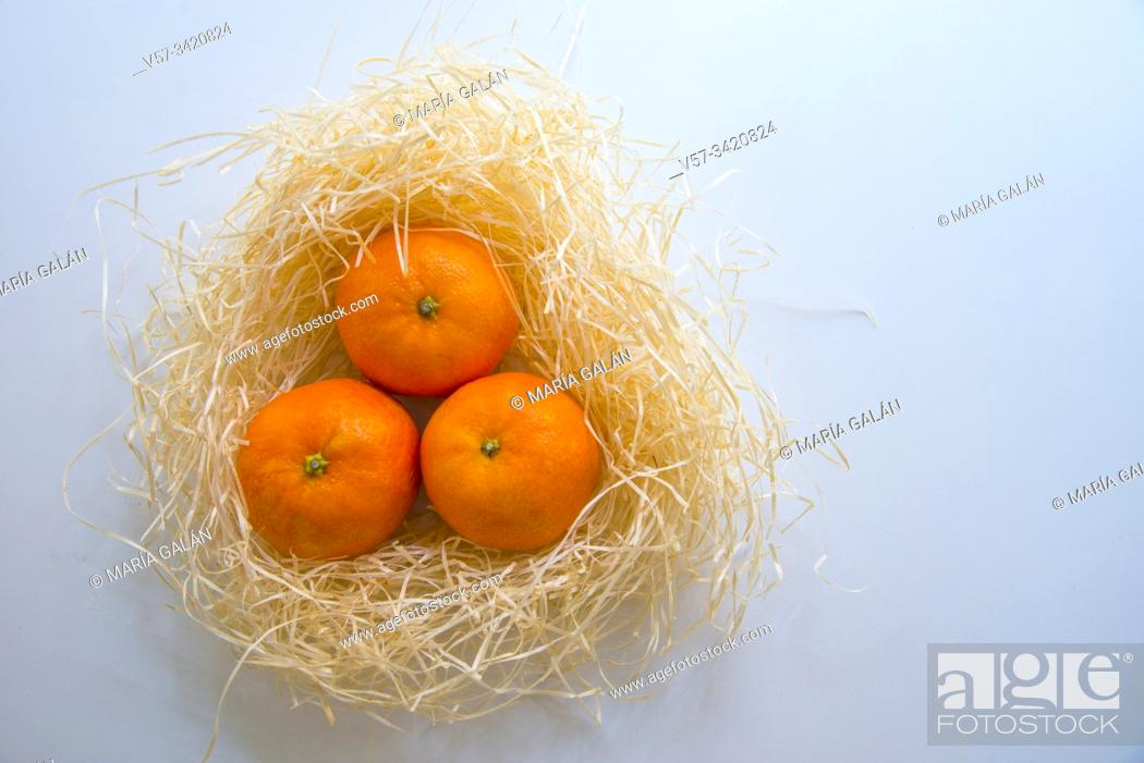 Imagen: Three mandarins in a straw nest.