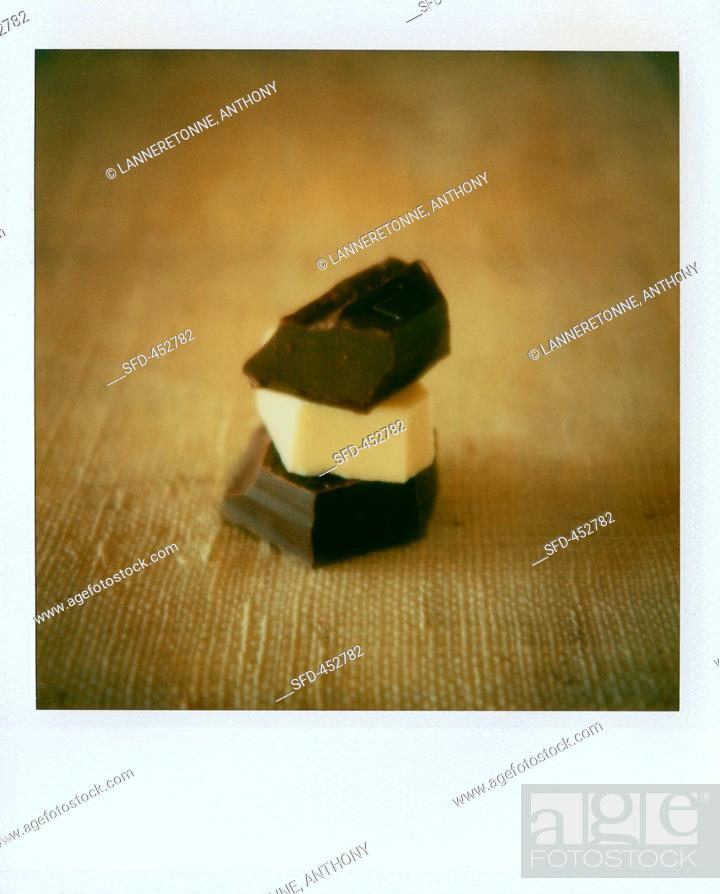 Stock Photo: A stack of chocolate.