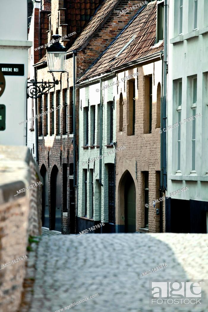 Stock Photo: Bridge and street in Bruges, Flanders, Belgium.