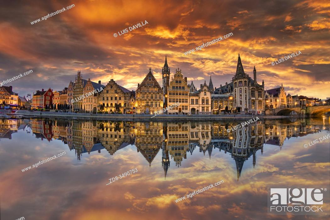 Stock Photo: General view of the Graslei with the Leie river in the foreground. . Ghent. Belgium.