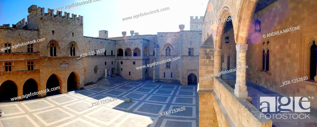Stock Photo: The inside courtyard Palace of the Grand Masters Rhodes Castle Island of Rhodes Greece.