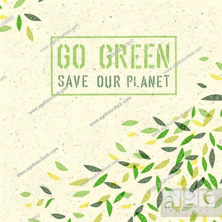 Stock Vector: Go Green concept on recycled paper texture. Vector.