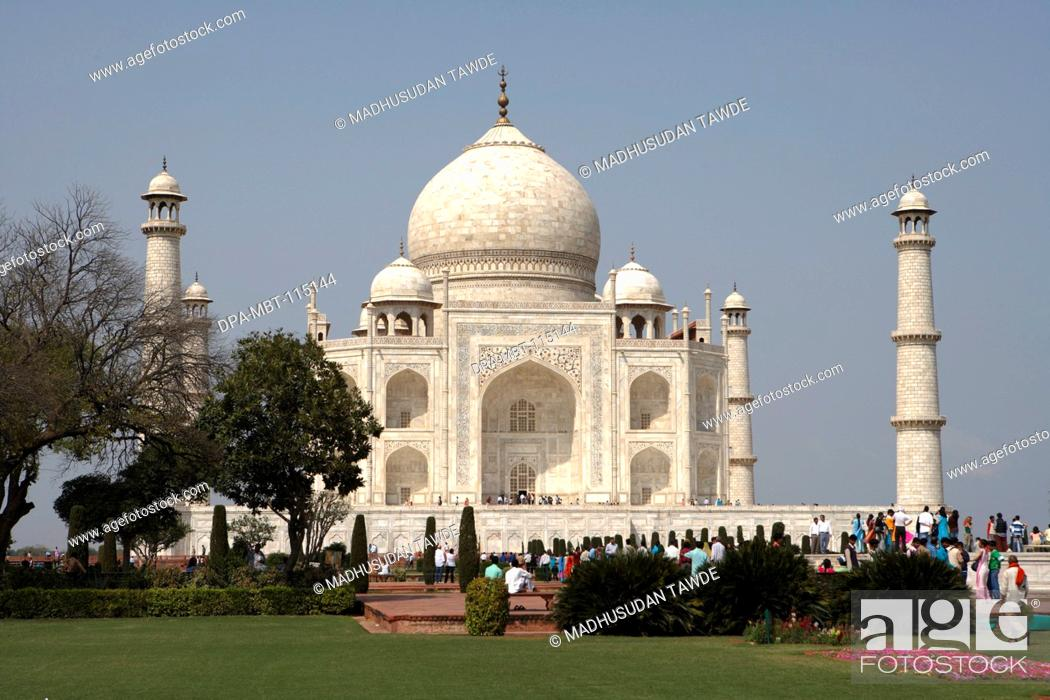 Stock Photo: Taj Mahal Seventh Wonders of World on the south bank of Yamuna river , Agra , Uttar Pradesh , India UNESCO World Heritage Site.