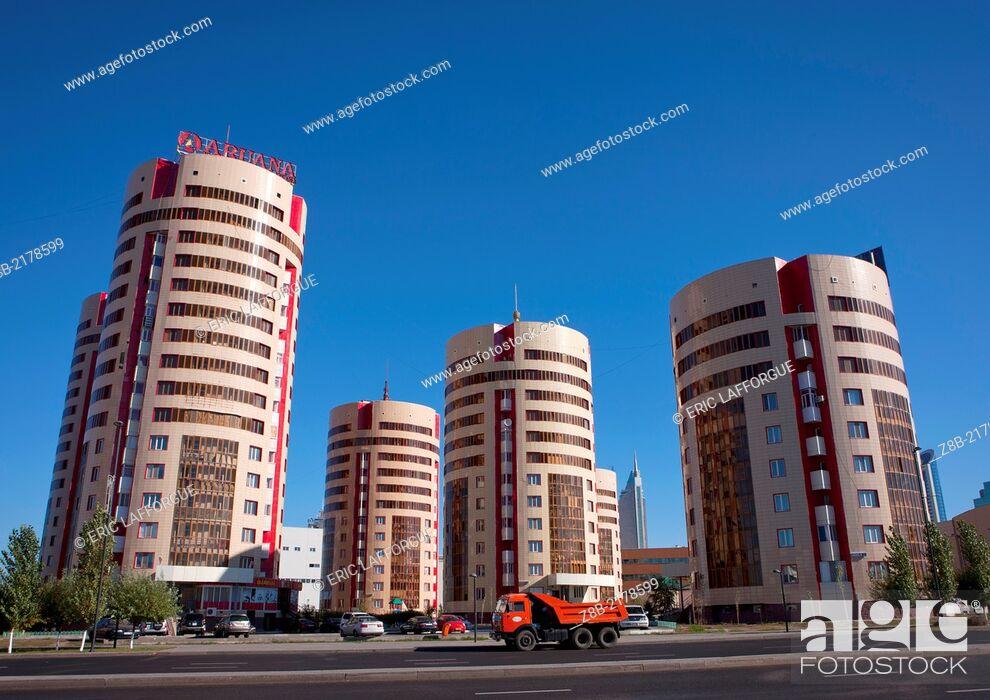 Stock Photo: The Beer Can Buildings in Astana, Kazakhstan.