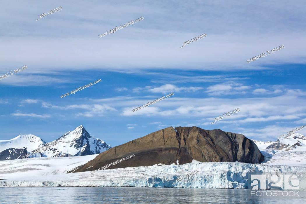 Stock Photo: A view of the tidewater glacier in Isbukta Ice Bay on the western side of Spitsbergen Island in the Svalbard Archipelago, Barents Sea.