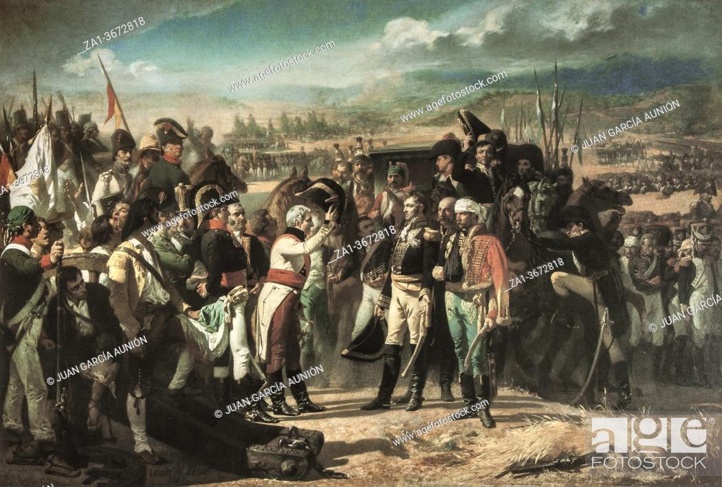 Stock Photo: The Surrender of Bailen. Painted by Jose Casado Alisal in 1864. Museo del Prado, Spain. The Battle of Bailen was fought in 1808 between the Spanish Army and the.