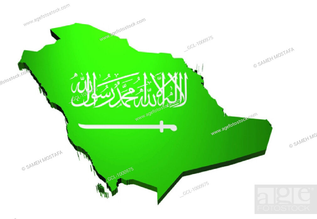 Stock Photo: map and flag of Saudi Arabia.