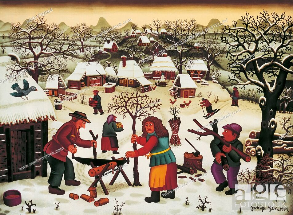 Stock Photo: Winter (Inverno), by Ivan Lackovic Croata, 1971, 20th Century, oil on glass. Private collection. Whole artwort work. A village made of wooden houses covered.