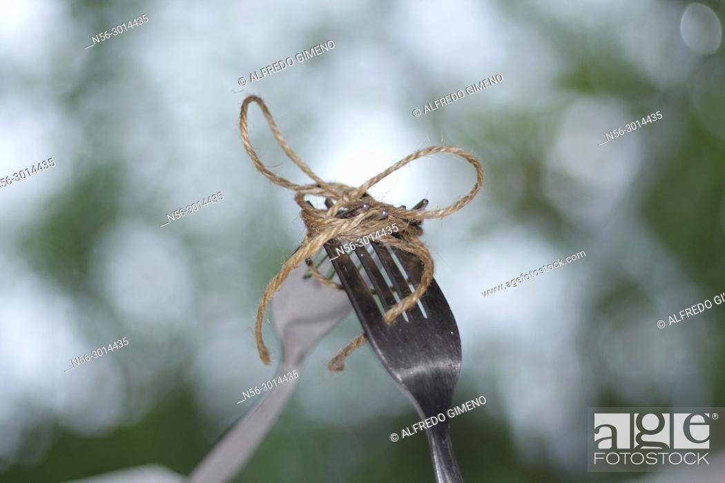 Stock Photo: fork tied with a cord.