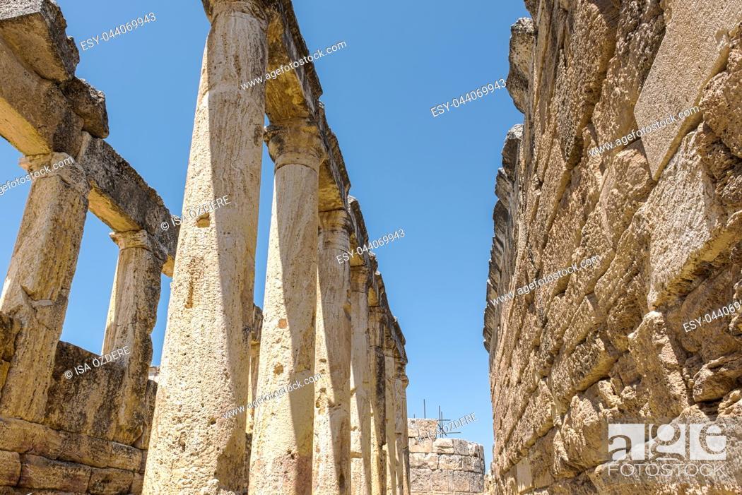 Stock Photo: The Latrine (toilet) in the Frontinus street near Agora, Roman remains at Hierapolis, Pamukkale, Turkey.