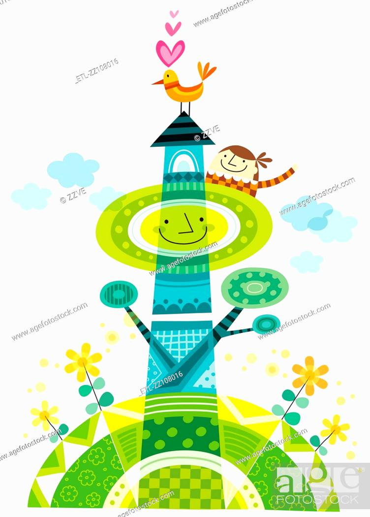 Stock Photo: Close-up of children standing on building.