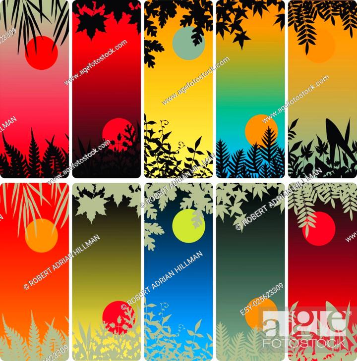 Stock Vector: Set of editable vector vertical banners of plants.