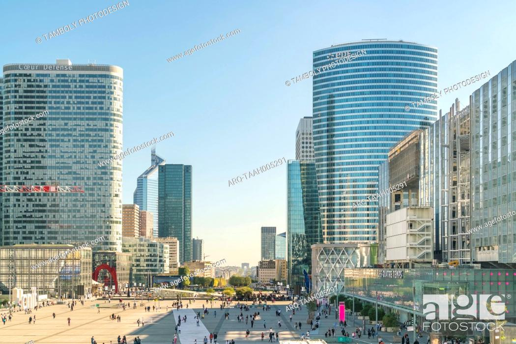 Stock Photo: Modern architecture and towers, skyscrapers in La Defense. La Defense is a major business district, three kilometers west of the city limits of Paris, France.