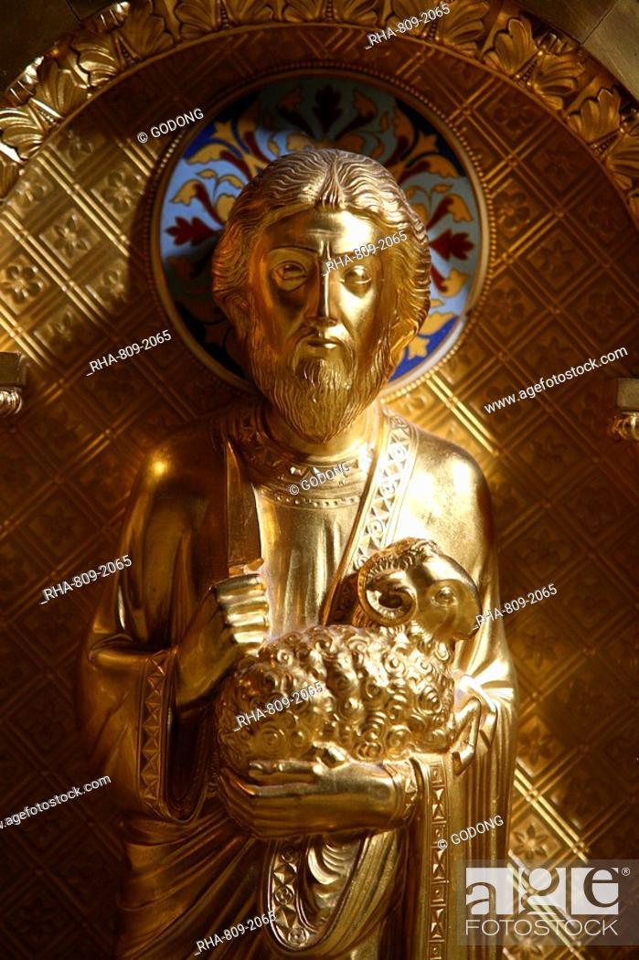 Stock Photo: Statue of Abraham in Saint-Martin d'Ainay Basilica, Lyon, Rhone, France, Europe.