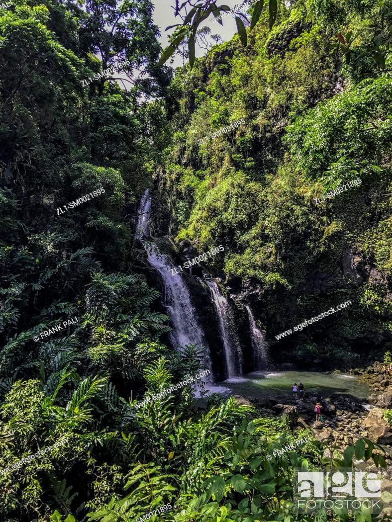 Stock Photo: Twin Falls, Maui, Hawaii.