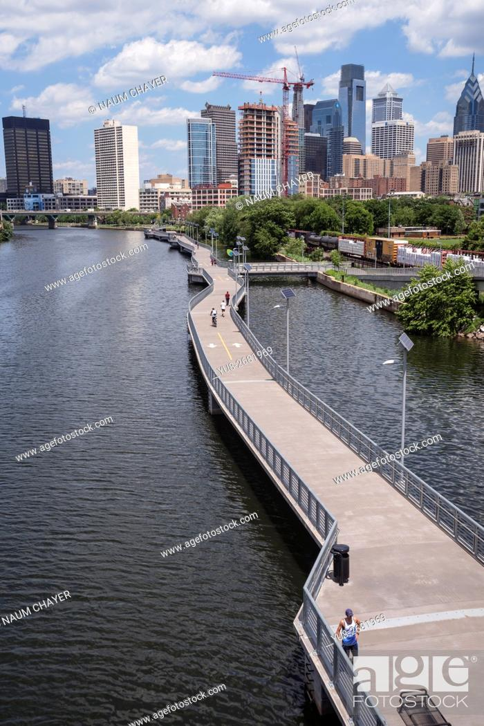 Stock Photo: The Schuylkill Banks Boardwalk, Philadelphia, Pennsylvania, USA.