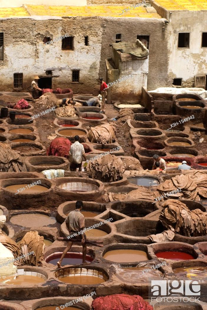 Stock Photo: tannery, medina, Fes, Morocco.