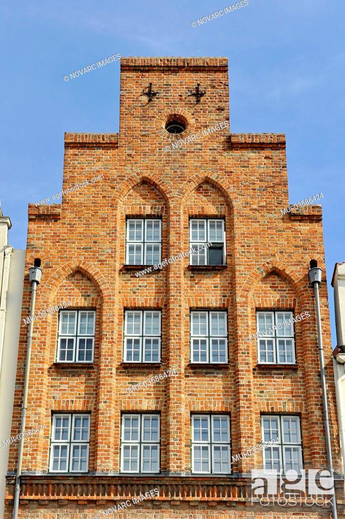 Stock Photo: Historic gable, Hanseatic City of Lübeck, Schleswig-Holstein, Germany, Europe.