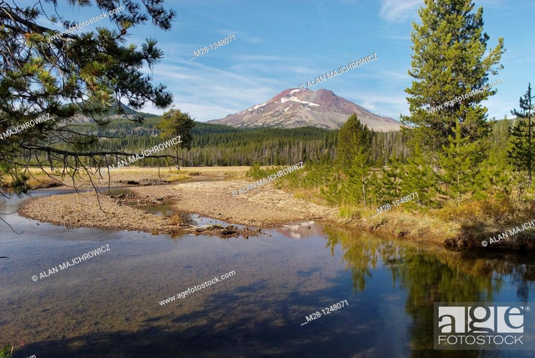 Stock Photo: Soda Creek winds through sub-alpine meadows, South Sister volcano is in the distance  Willamette National Forest Oregon.