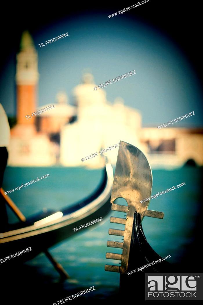 Ferro Di Gondola.Detail Of A Gondola Ferro Di Prua Or Prow Iron In Front Of
