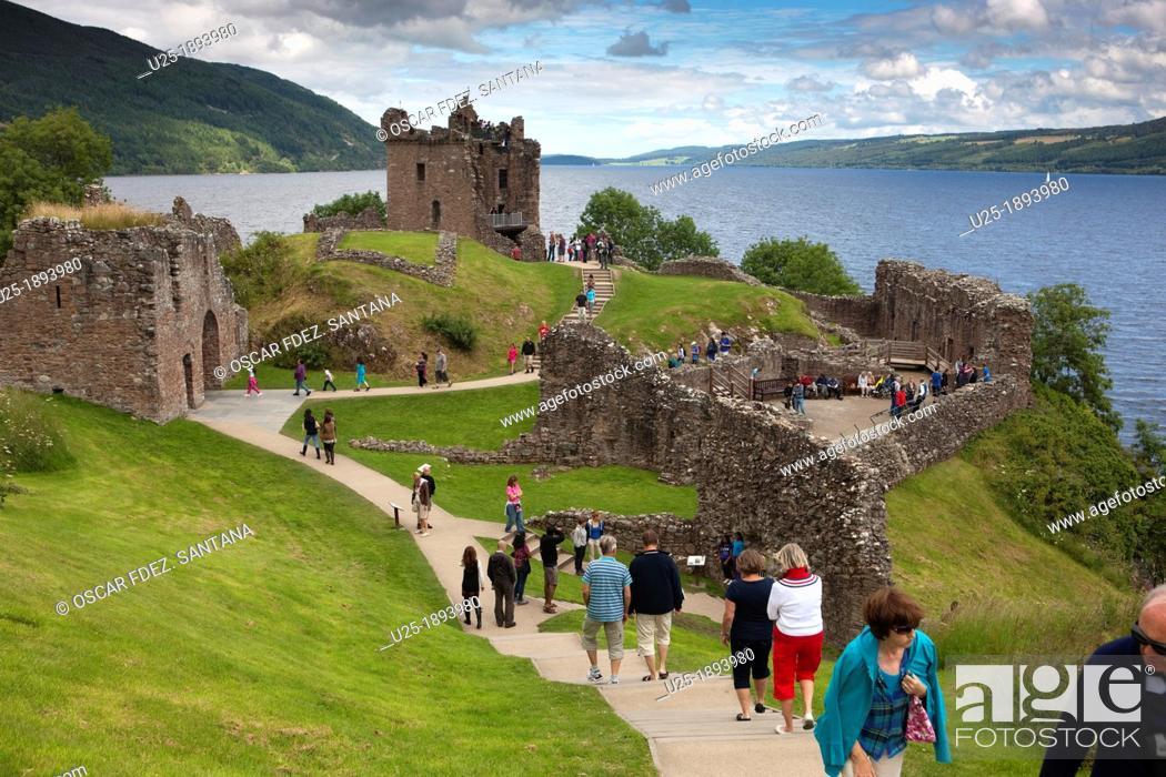 Stock Photo: Europe  United Kingdom  Scotland  The Highlands  Drumnadrochit  Urquhart Castle  Loch Ness.