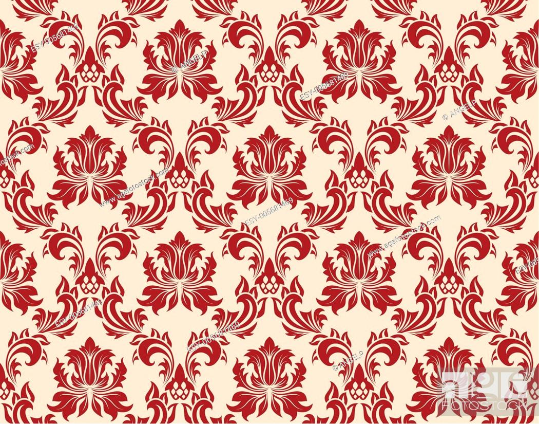 Stock Vector: seamless damask pattern.