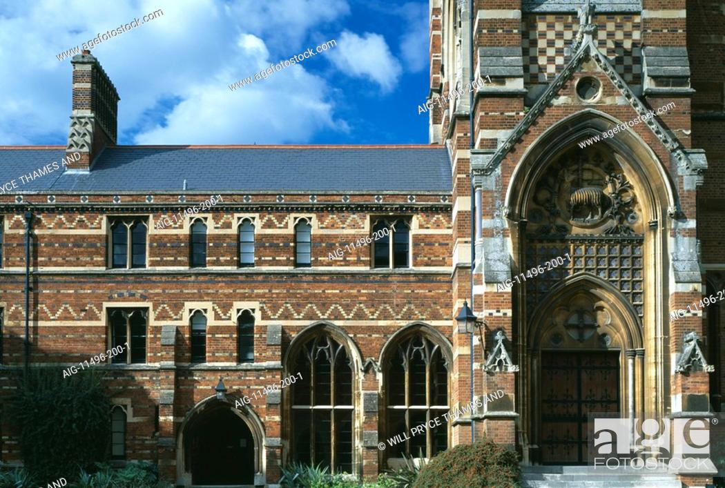 Stock Photo: The Chapel, Keble College, Oxford University, Oxford, 1867 - 1883. Architect: William Butterfield. Engineer: Thomas Brassey - Builder.