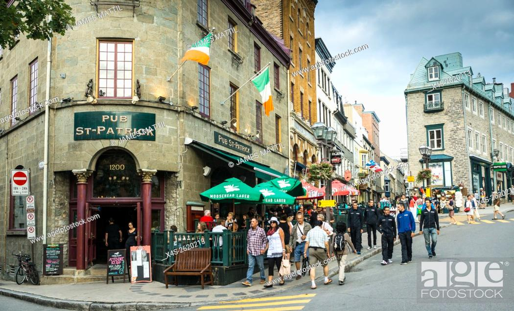 Stock Photo: Quebec City, Canada - Sept. 8, 2015: Quebec's Old City is bustling with visitors and competitors for the international bicycling event.
