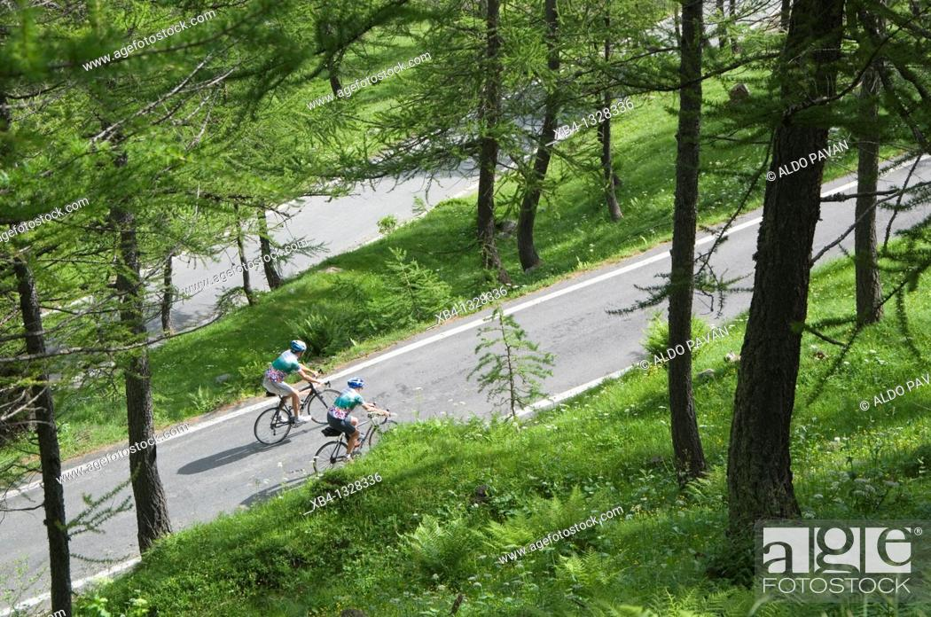 Stock Photo: Colle della Lombarda mountain pass by bike, Piedmont, Italy.