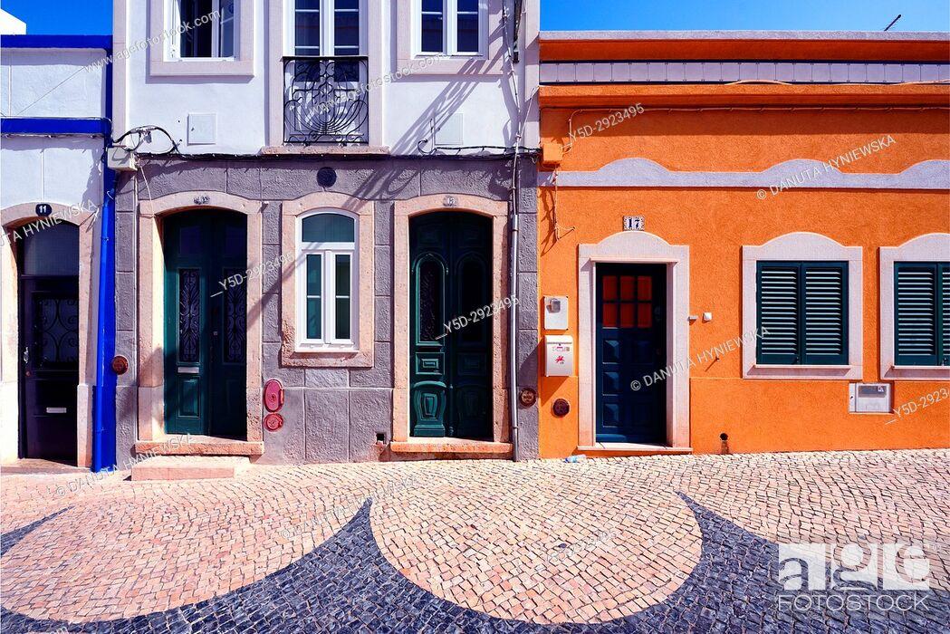 Stock Photo: architecture in historic part of Lagos city, Rua de Sao Goncalo de Lagos, Calçada Portuguesa, Algarve, Portugal, Europe.