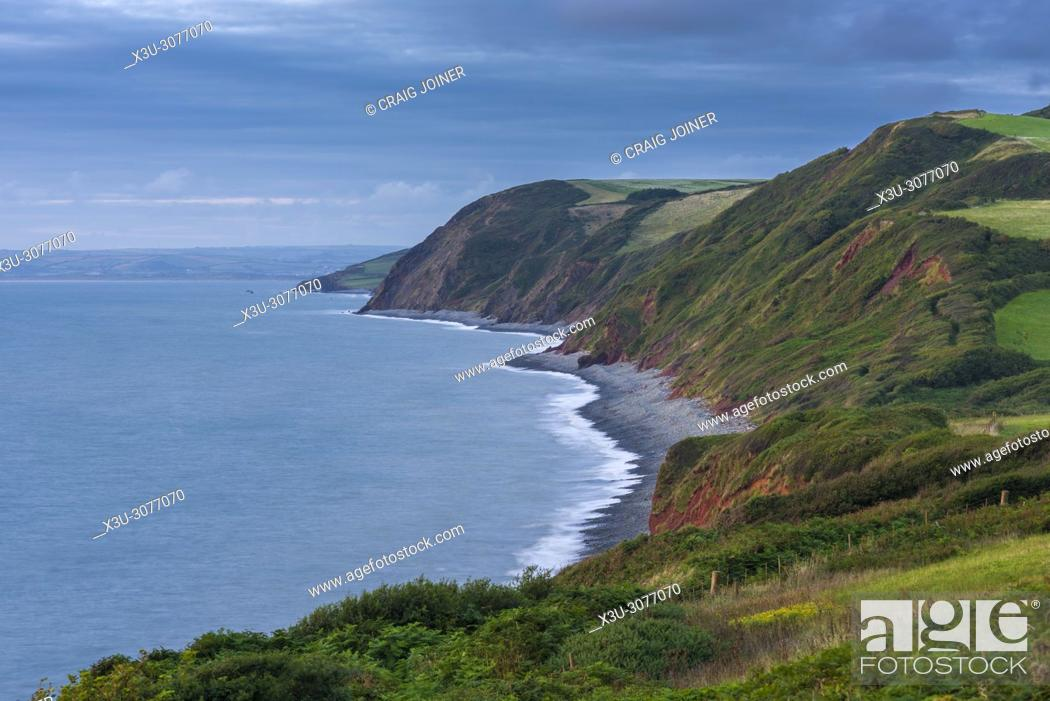 Stock Photo: The cliffs at Peppercombe at dusk on the North Devon Heritage Coast, England.