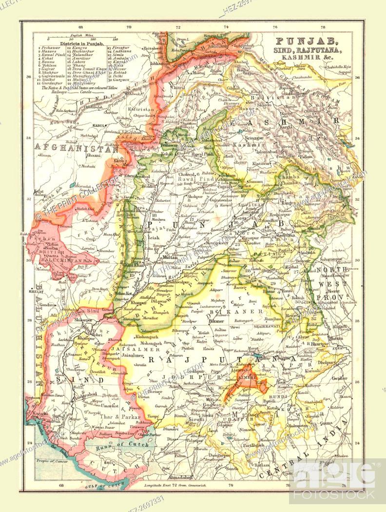 Map of Punjab, Sind, Rajputana and Kashmir, 1902  Creator: Unknown