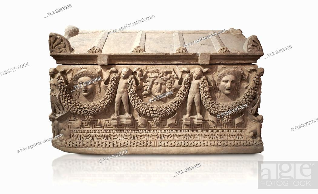 "Stock Photo: Picture of Roman relief sculpted Sarcophagus of Garlands, 2nd century AD, Perge. This type of sarcophagus is described as a """"Pamphylia Type Sarcophagus""""."