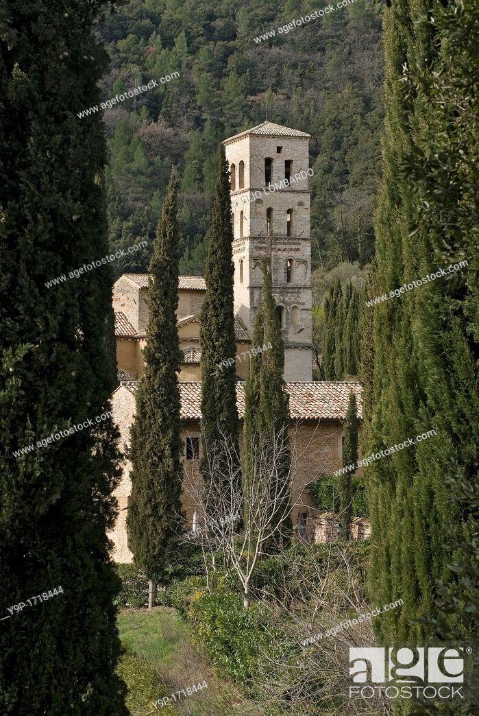 Stock Photo: San Pietro in Valle Abbey  Ferentillo, Terni Province, Umbria, Italy.