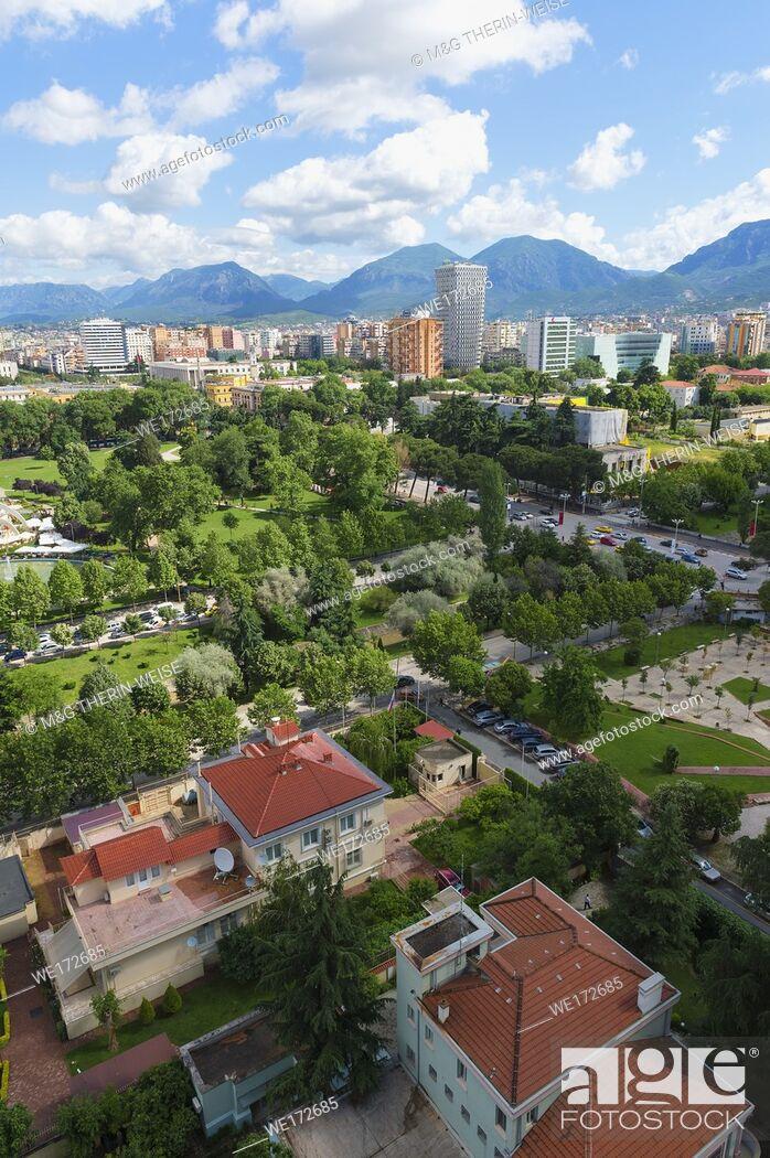 Stock Photo: View over Tirana, Tirana, Albania.