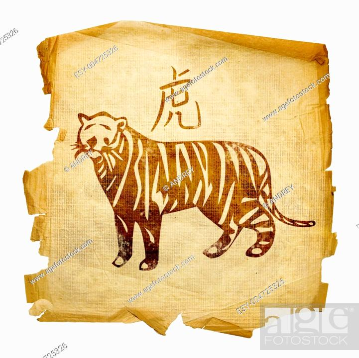 Stock Photo: Tiger Zodiac icon, isolated on white background.