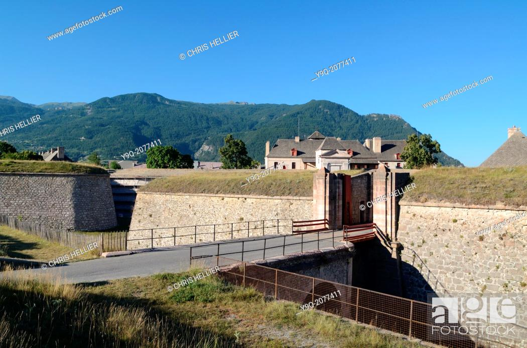 Stock Photo: Fortified Entrance to Walled Town of Mont-Dauphin Hautes-Alpes France.