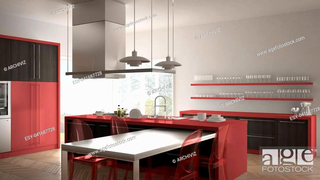 Stock Photo: Minimalistic modern kitchen with table, chairs and parquet floor, gray and red interior design.
