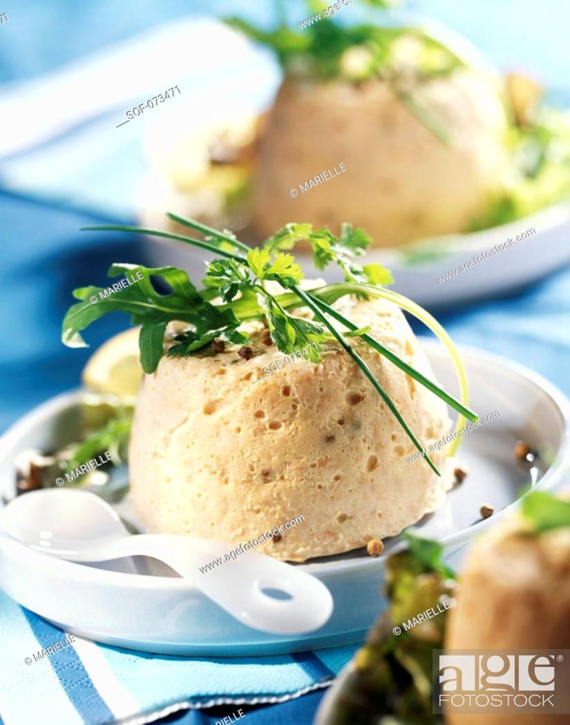 Stock Photo: salmon terrine with bread and coriander.