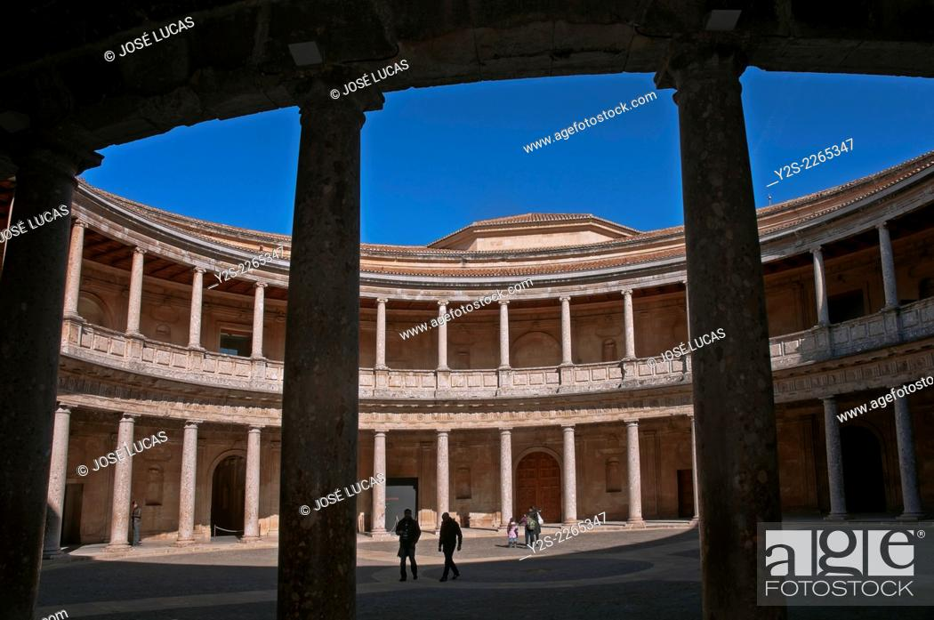 Stock Photo: Palace of Charles V - courtyard, Alhambra, Granada, Region of Andalusia, Spain, Europa.