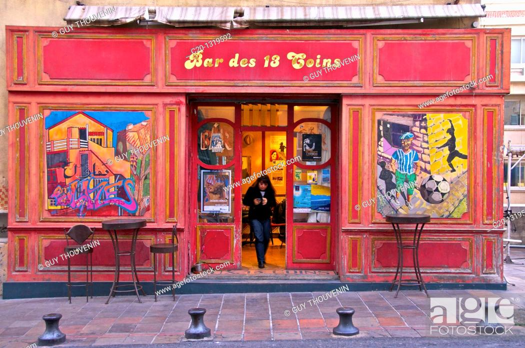 Stock Photo: Typical ancient café, which served as model for the Mistral Bar in famous TV series 'Plus Belle La Vie'. Le Panier quarter, oldest spot in Marseille.