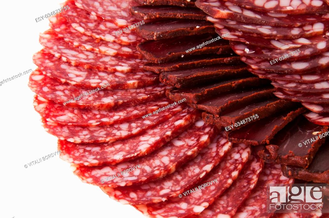 Imagen: Sliced Basturma And Dried Sausages Isolated On White Background.