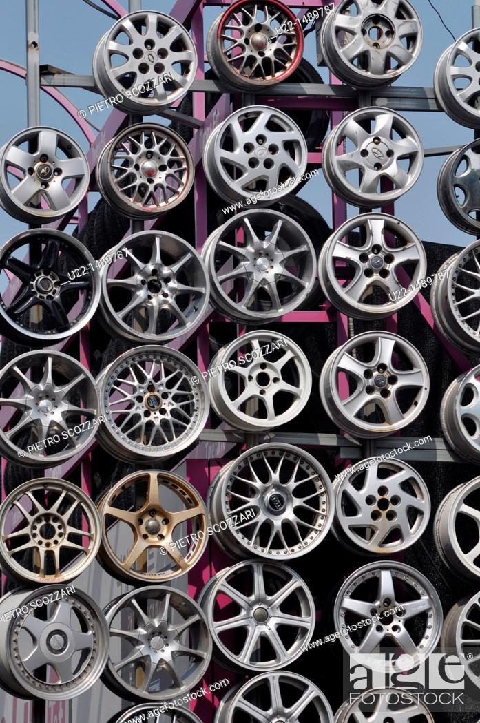 Stock Photo: Busan (South Korea): rims by a cars shop in Nam-gu neighborhood.