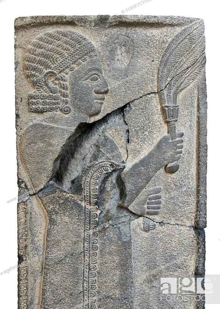 Stock Photo: Relief panels orthostat from Sam 'al /Zincirli. Neo Syro Hittite. Basalt around 730 BC. Vorderasiatisches Museum, Pergamon Museum, Berlin.
